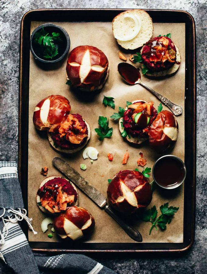 Vegan BBQ Beet Kimchi Sliders