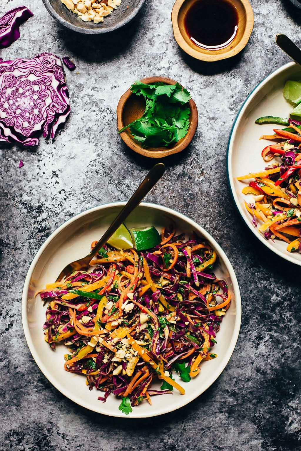 Rainbow Pepper Peanut Slaw