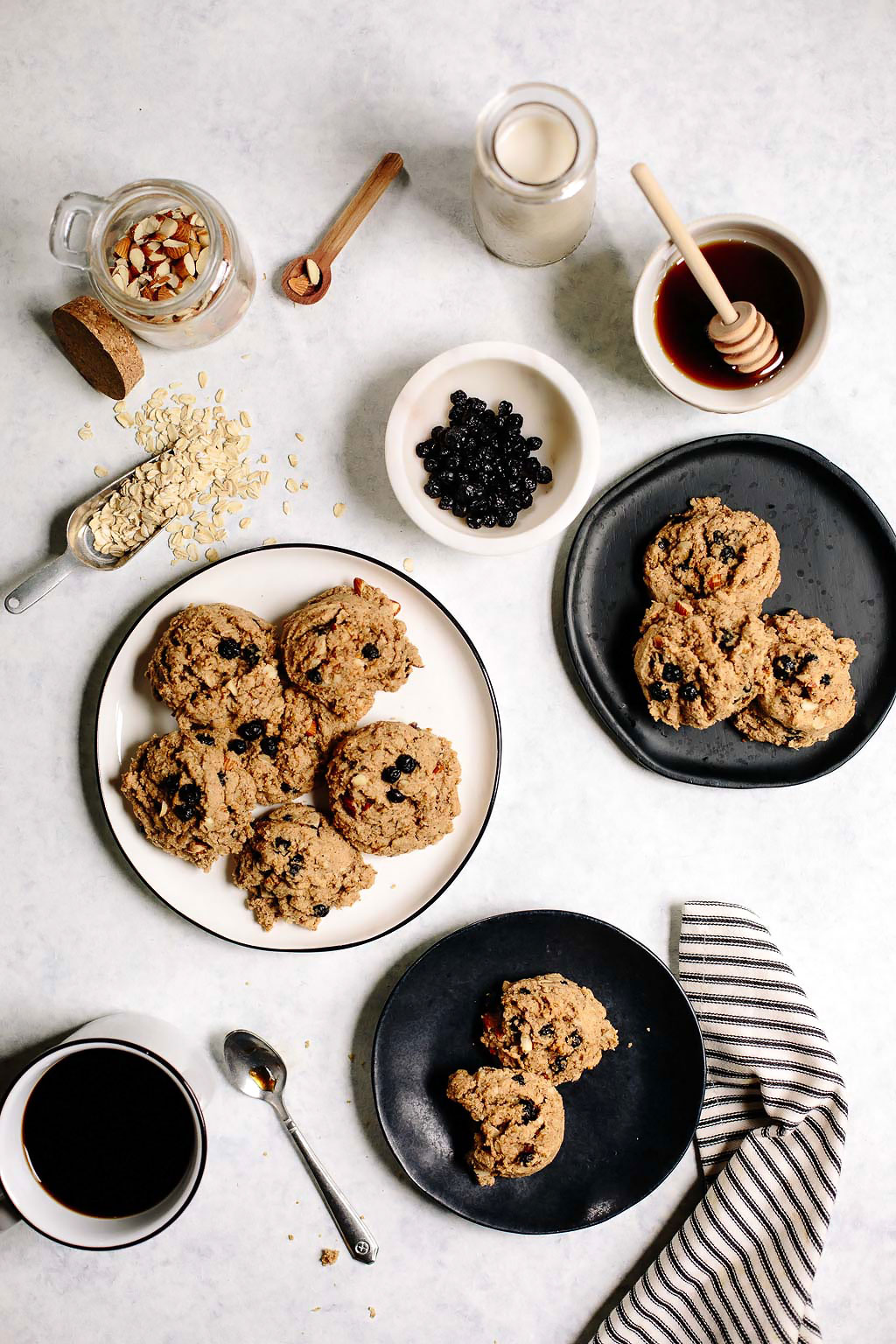 Vegan Blueberry Almond Oat Breakfast Cookies