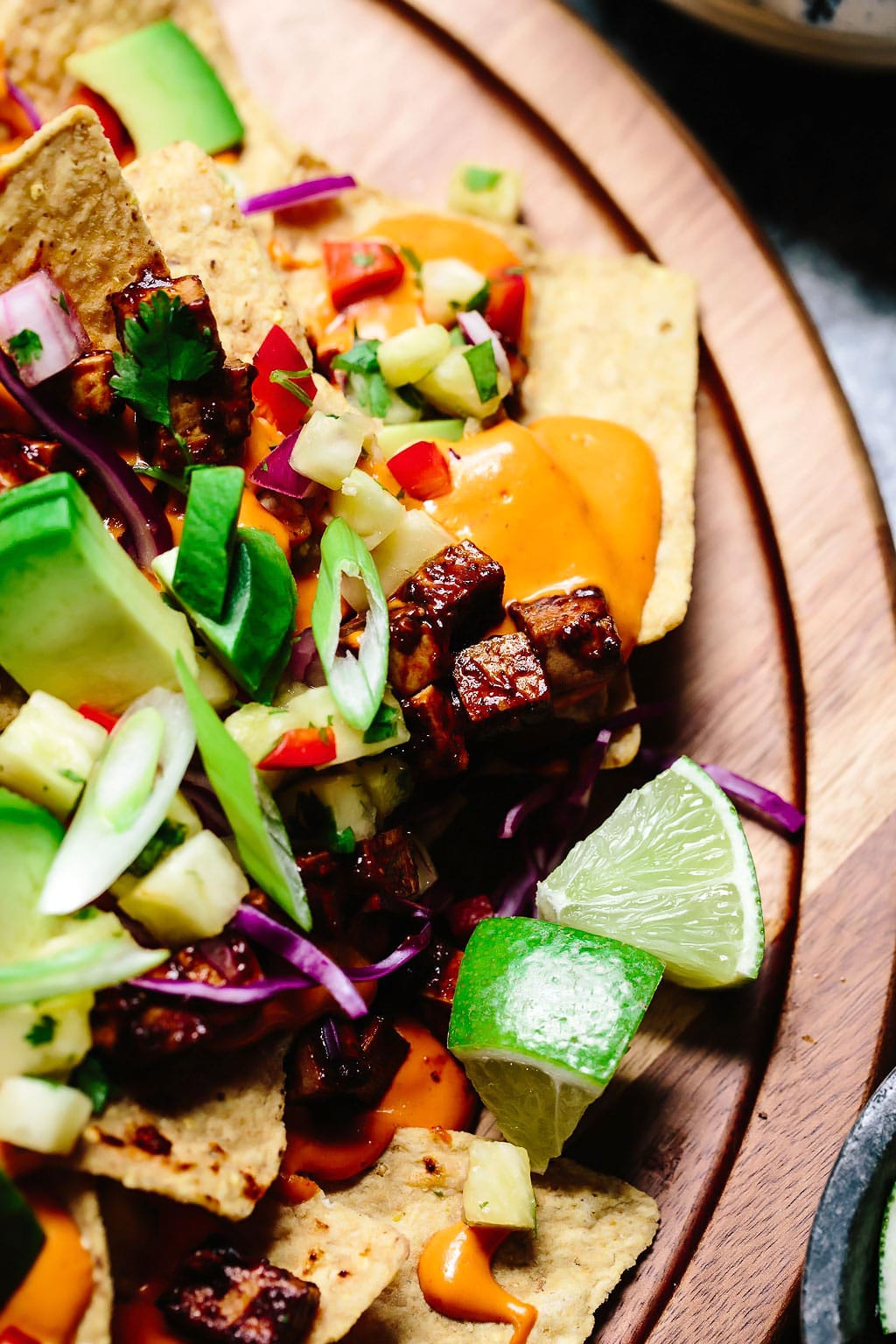 Vegan BBQ Tofu Summer Nachos with Pineapple Salsa
