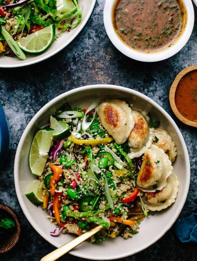 Quinoa Rainbow Veggie Dumpling Bowls