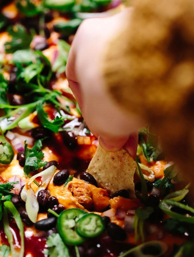 Vegan Cheesy BBQ Chicken Dip