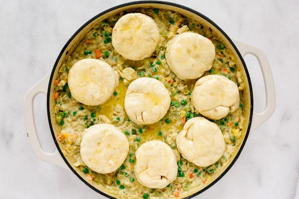 Vegan Cauliflower Pot Pie with Biscuits Before Baking