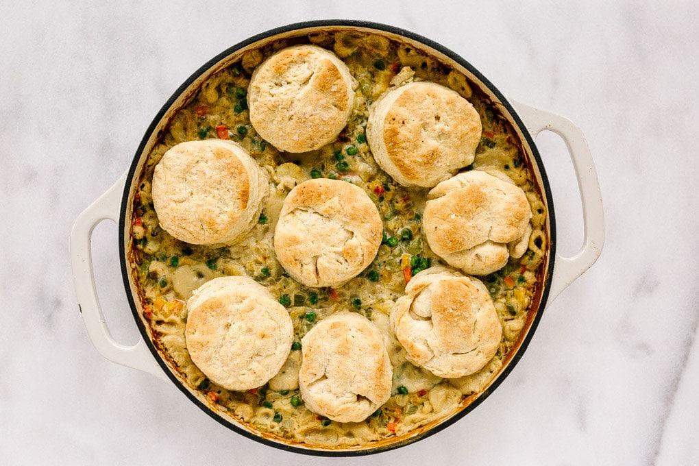 Vegan Cauliflower Pot Pie with Biscuits After Baking