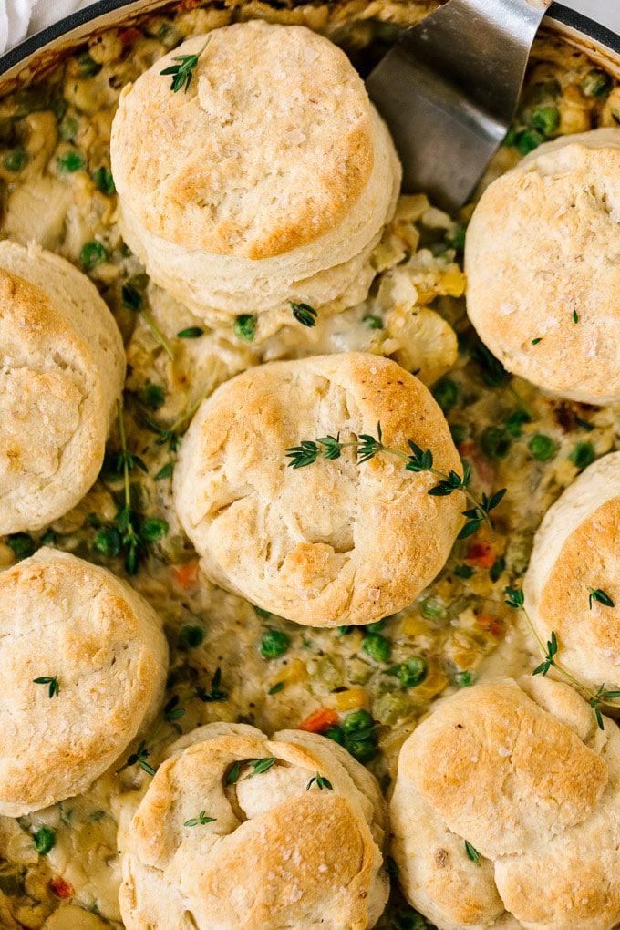 Vegan Cauliflower Pot Pie with Biscuits