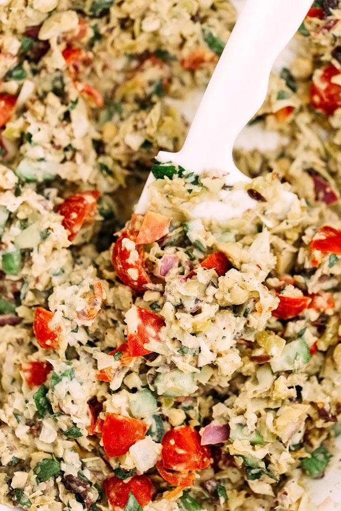 Shawarma Spiced Mashed Chickpea Artichoke Salad