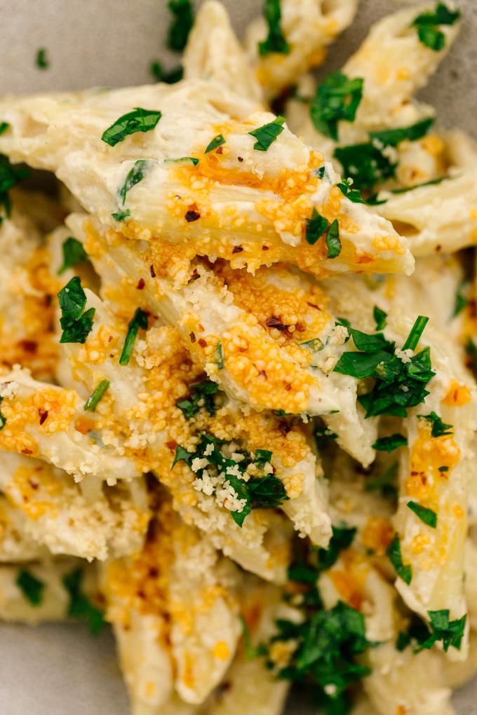Spicy Vegan Tahini Pasta Pinenut Parmesan