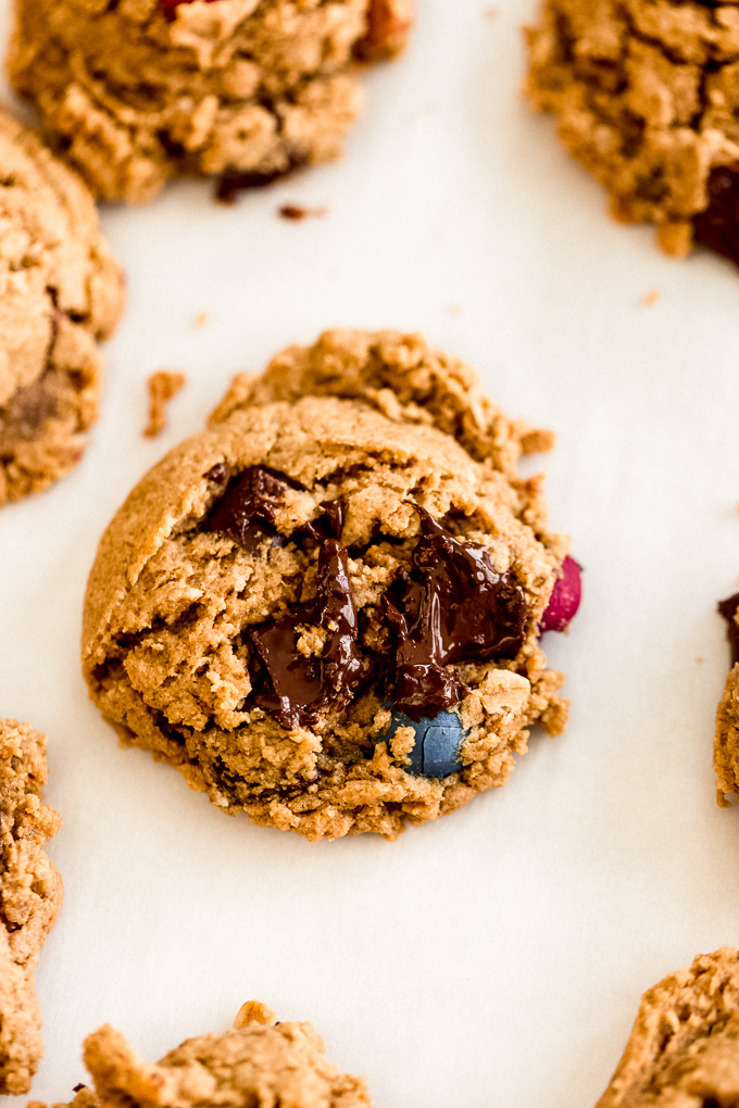 Vegan Gluten-Free Chocolate Chunk Monster Cookies