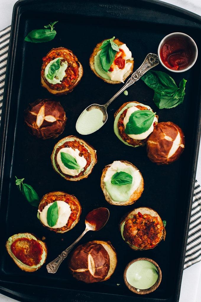 Vegan Lentil Pizza Burgers Basil Aioli Cashew Mozzarella