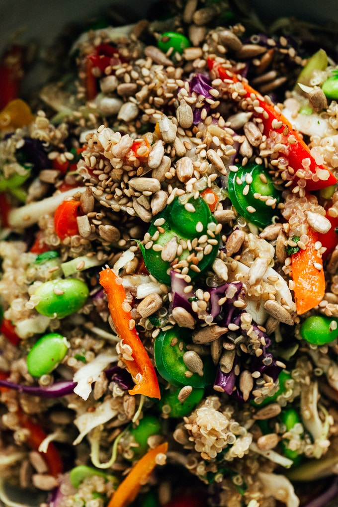 Nutty Rainbow Veggie Quinoa Crunch Salad