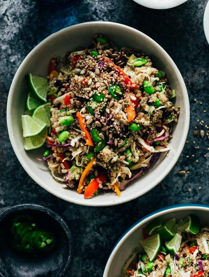 Nutty Rainbow Veggie Quinoa Crunch Salad