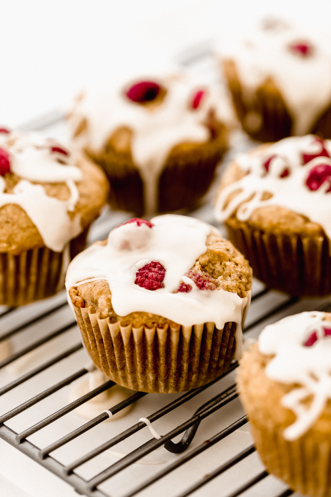 Vegan Raspberry Lemon Muffins Mix Baked Glazed