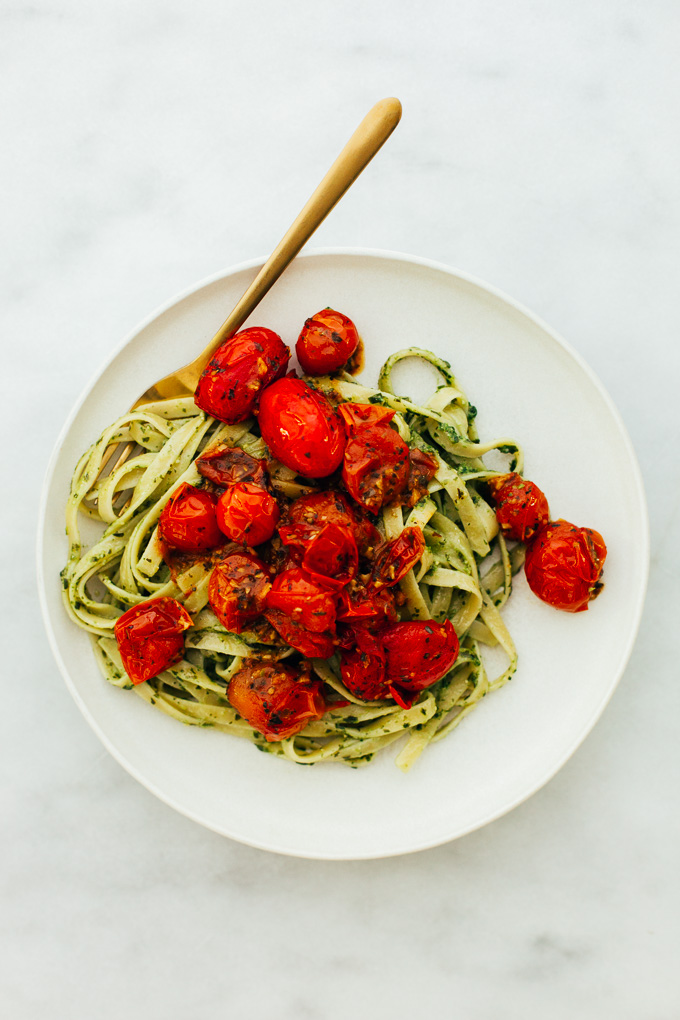 Pesto Pasta Garlic Herb Burst Tomatoes