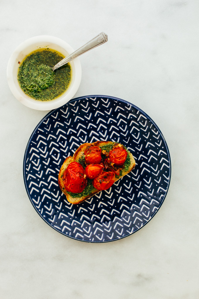 Pesto Toast Garlic Herb Burst Tomatoes