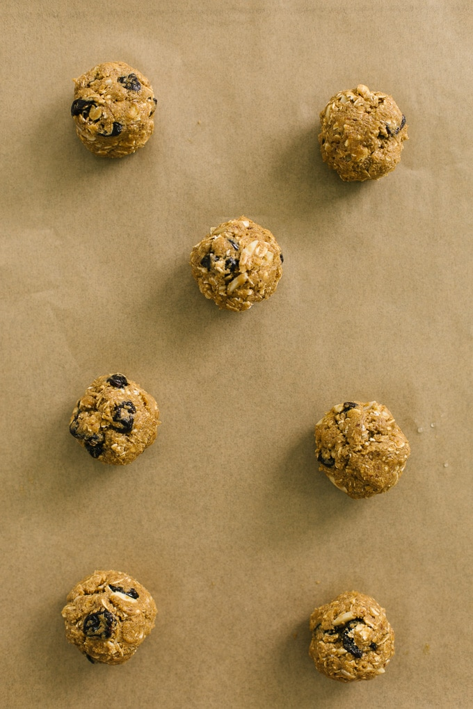 Vegan Oatmeal Cherry Almond Cookie Dough Balls