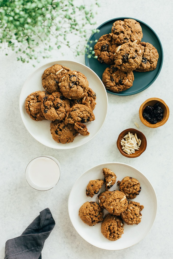 Vegan Oatmeal Cherry Almond Cookies