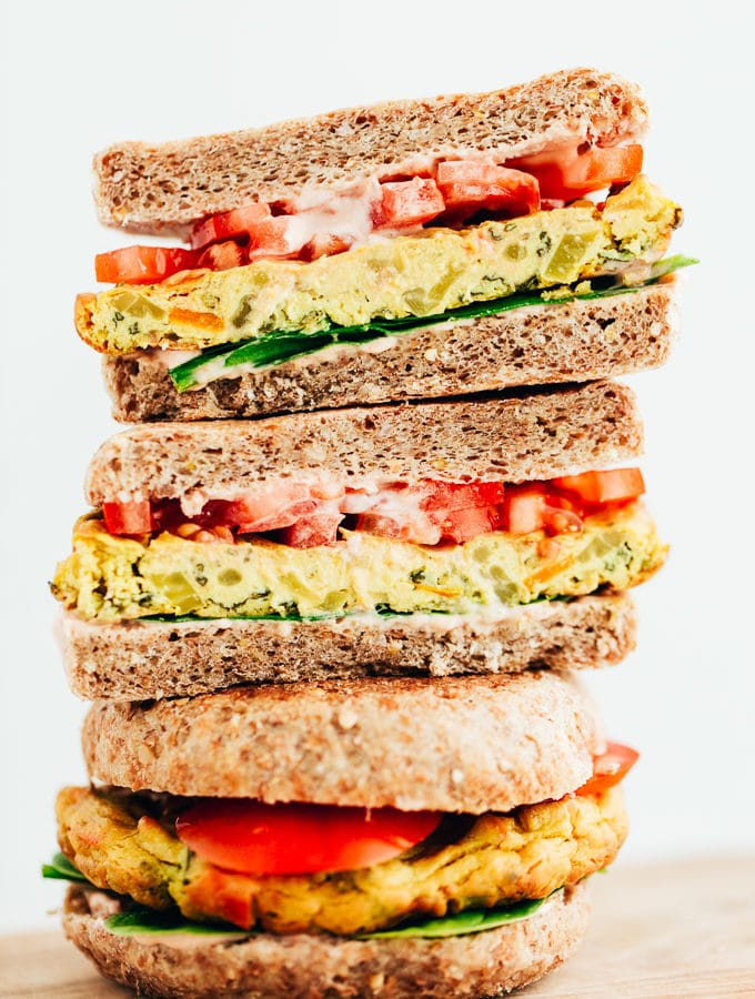 Vegan Veggie Egg Breakfast Sandwich