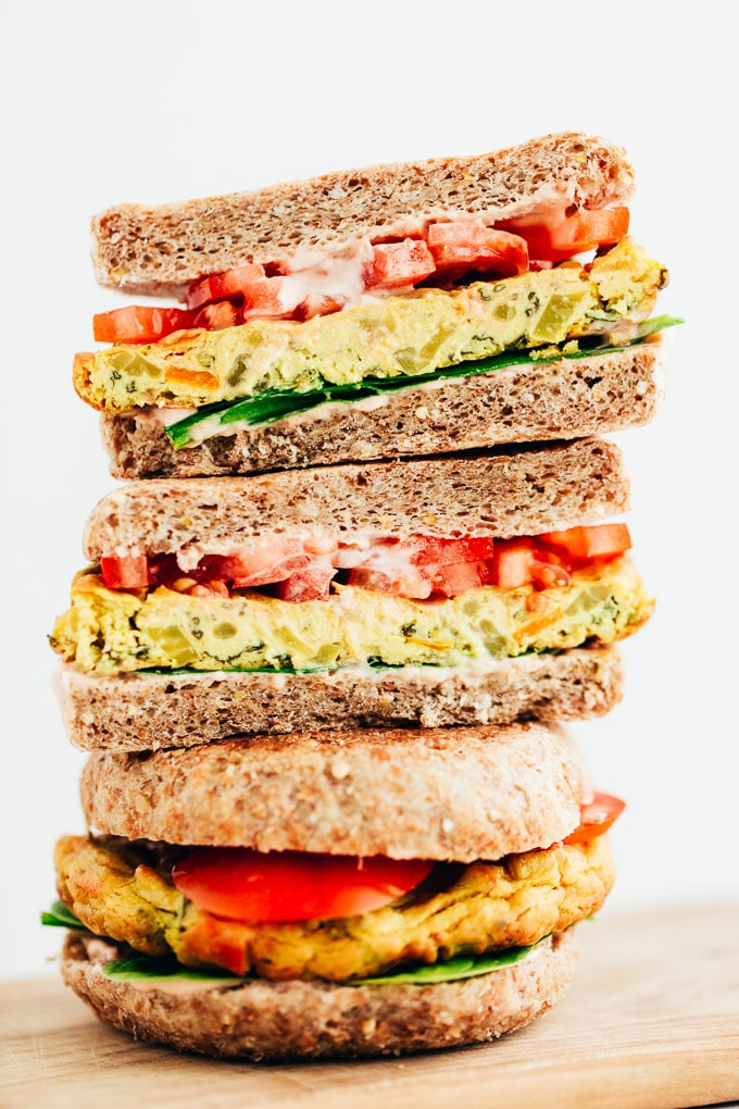 "Vegan Tofu Veggie ""Egg"" Patty Breakfast Sandwich"