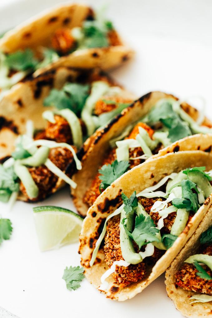 Vegan Crispy Sweet Potato Tacos with Avocado Cream
