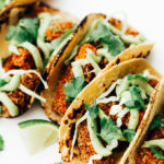 Vegan Crispy Sweet Potato Tacos with Avocado Cream